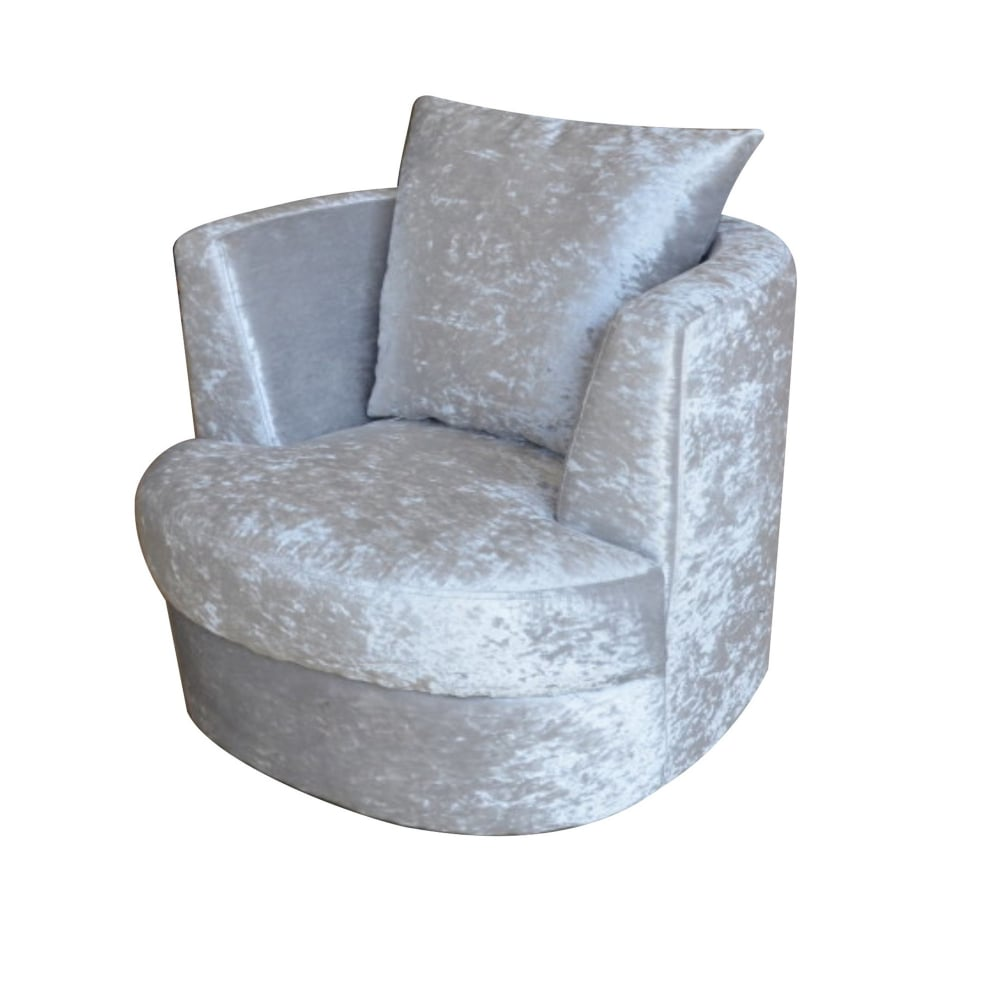 Bliss Small Swivel Snuggle Chair In Silver Free Delivery