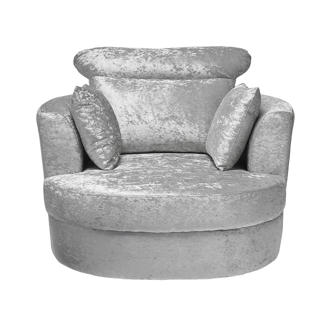 Brilliant Bliss Large Swivel Silver Snuggle Chair Free Delivery Bralicious Painted Fabric Chair Ideas Braliciousco