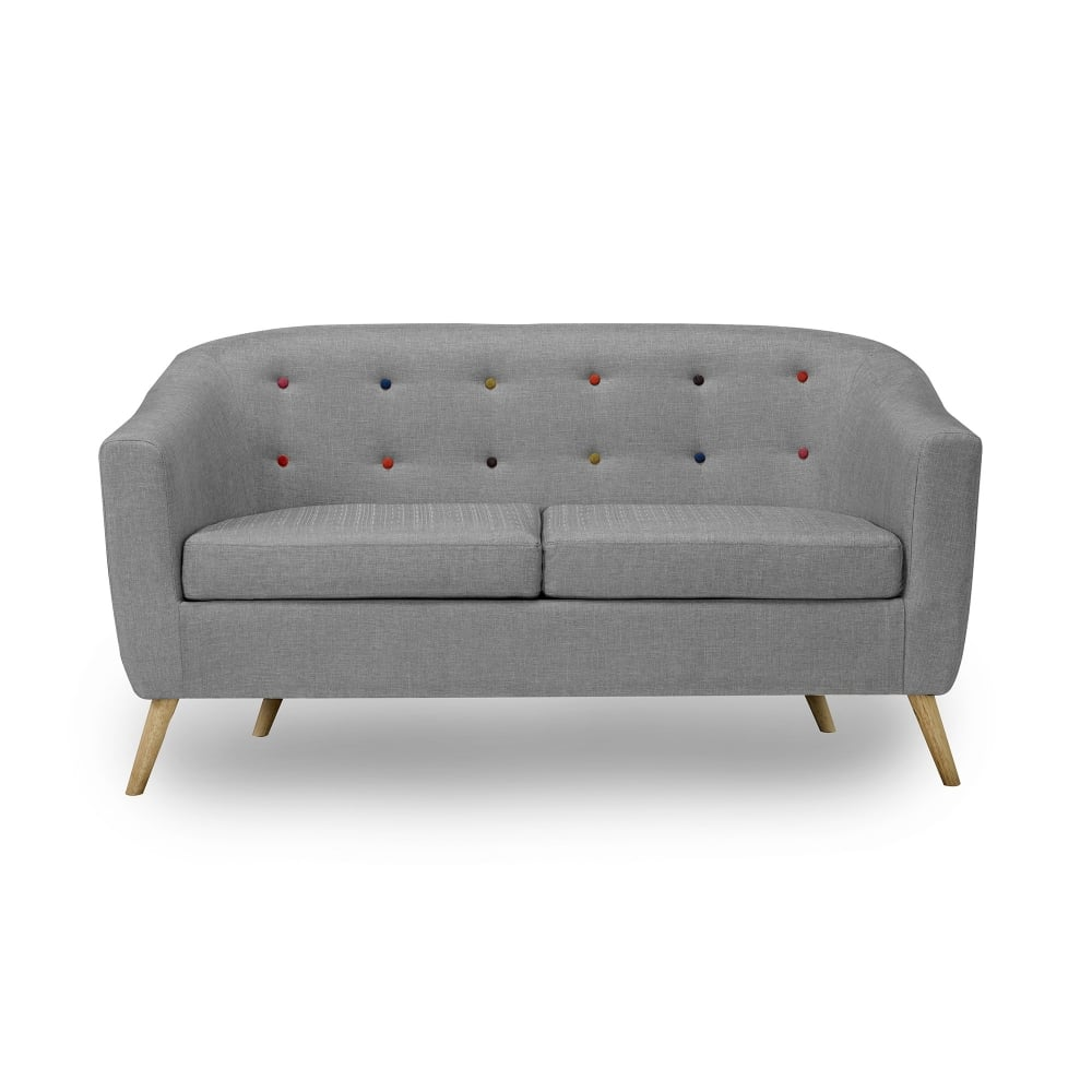 Sofa Free Delivery: Hudson Sofa In Grey With Multi-Coloured Buttons