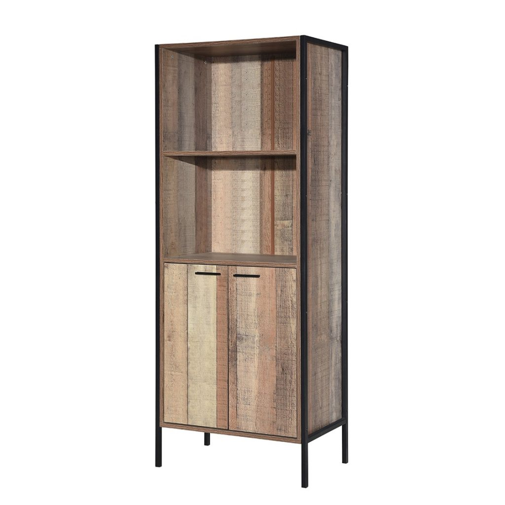 Hoxton Bookcase Display Cabinet Distressed Oak Effect Free Delivery